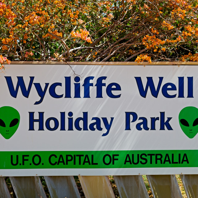 """the capital of ufo the sign of wycliffe well"" stock image"