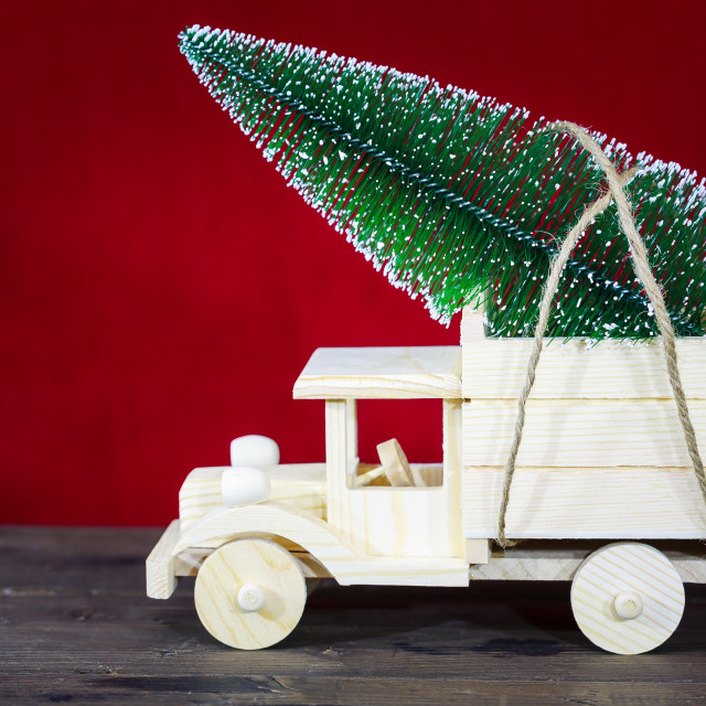 """Truck with Christmas tree"" stock image"