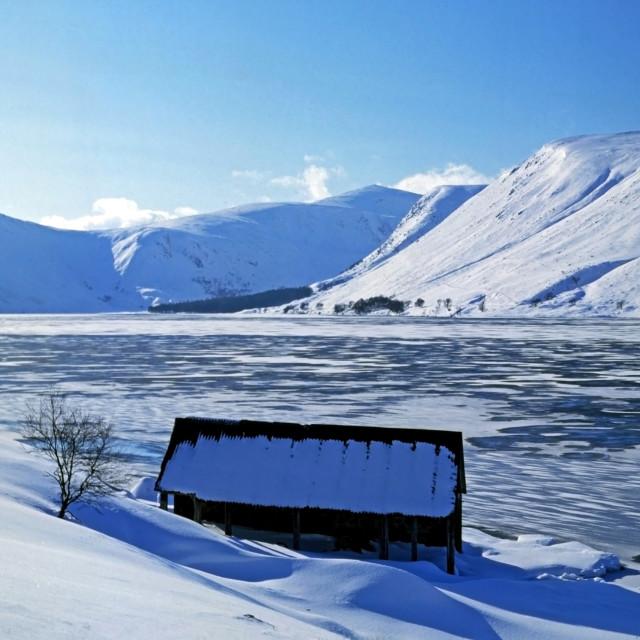 """Loch Muick & Braod Cairn"" stock image"