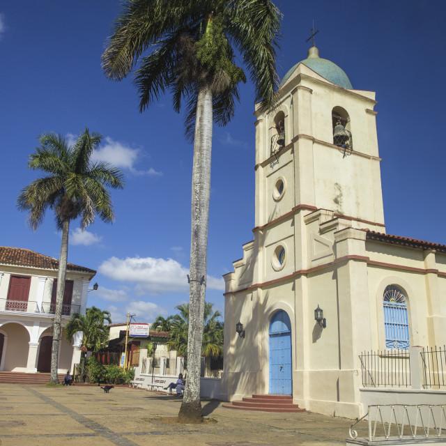 """Cuba, Pinar del Río Province, Vinales, Vinales town, Central Square, Church"" stock image"