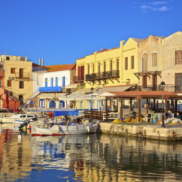 """The Harbour at Rethymno, Rethymno, Crete, Greek Islands, Greece, Europe"" stock image"