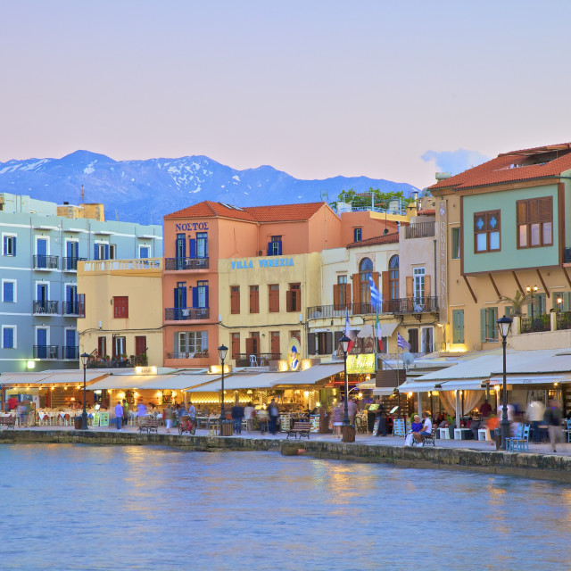 """The Venetian Harbour, Chania, Crete, Greek Islands, Greece, Europe"" stock image"