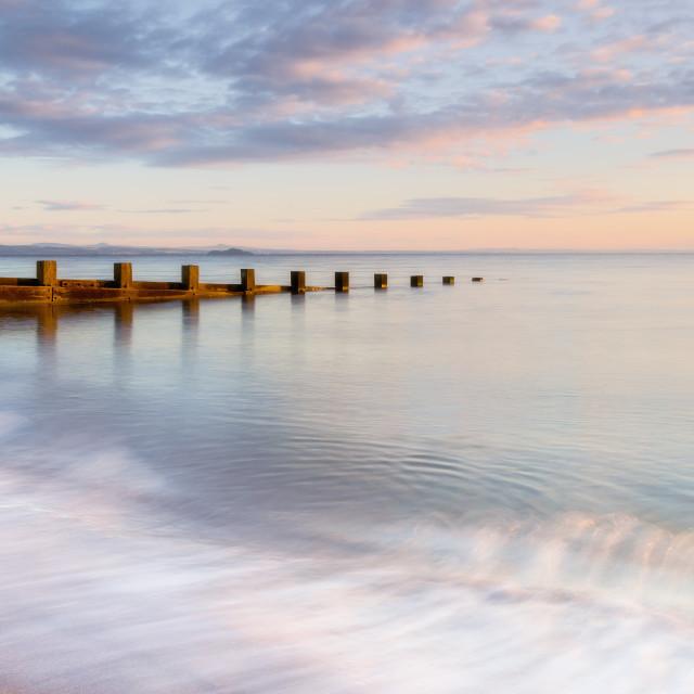 """Sunrise at Portobello Beach, Edinburgh, Scotland"" stock image"