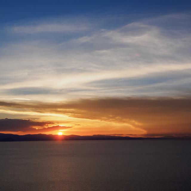 """Titicaca Lake seen from the Mount Calvario in Copacabana, sunset, La Paz..."" stock image"