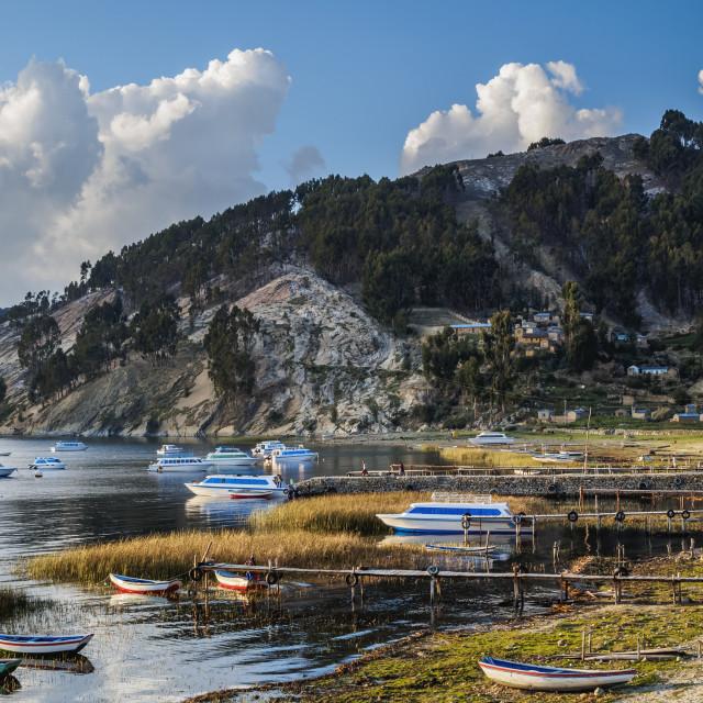 """Challa Pampa Village, Island of the Sun, Titicaca Lake, La Paz Department,..."" stock image"