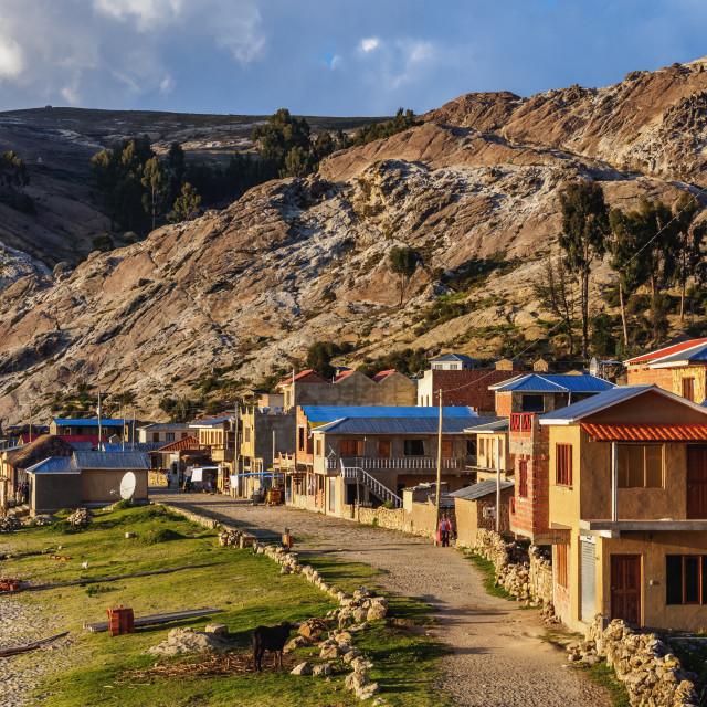 """Challa Pampa Village, elevated view, Island of the Sun, Titicaca Lake, La Paz..."" stock image"