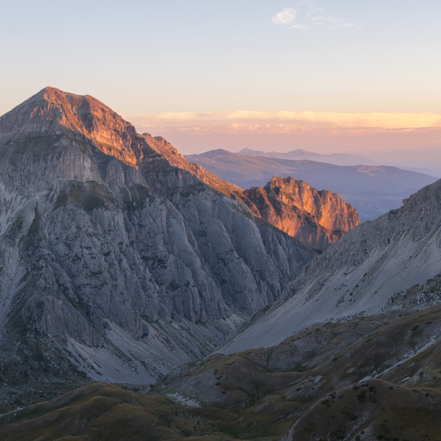 """Italy, Abruzzo, Gran Sasso e Monti della Laga National Park, Sunrise on the..."" stock image"