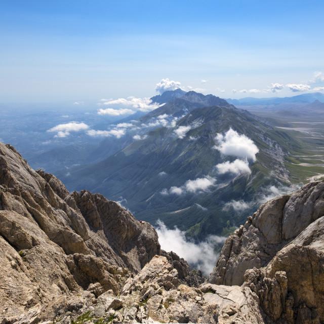 """""""Italy, Abruzzo, Gran Sasso e Monti della Laga National Park, Panorama from..."""" stock image"""