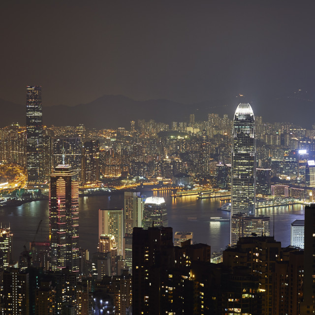 """""""View at night of central Hong Kong and Victoria Harbour from Victoria Peak,..."""" stock image"""