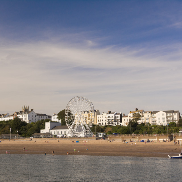 """""""The beach and seafront, Exmouth, Devon, UK"""" stock image"""