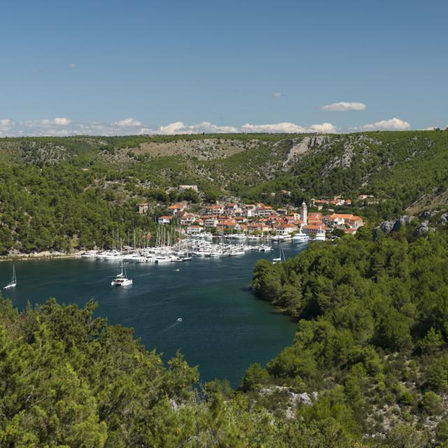 """Port of Skradin and boats, Croatia."" stock image"