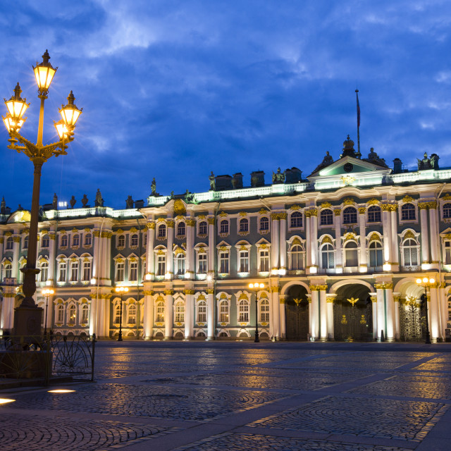 """State Hermitage Museum, Evening, St Petersburg, UNESCO World Heritage Site,..."" stock image"