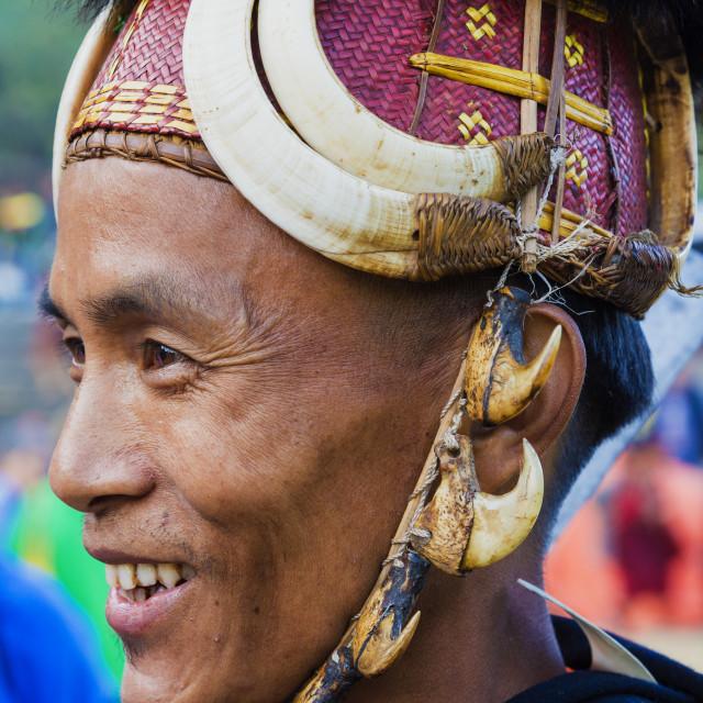 """Naga tribal man in traditional outfit, Kisima Nagaland Hornbill festival,..."" stock image"