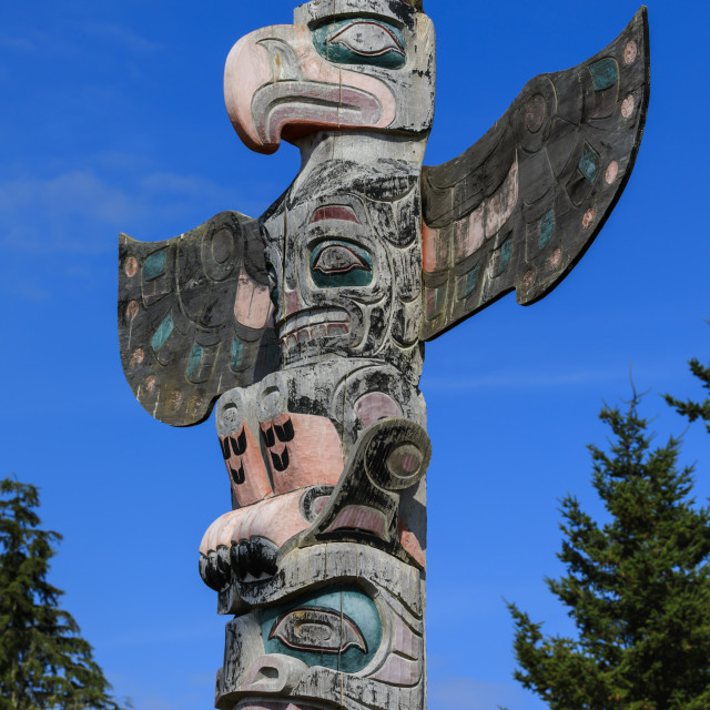 """First Nation Totem Pole, Original Namgis Burial Grounds, Alert Bay, Cormorant..."" stock image"