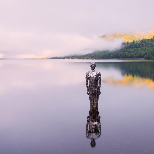 """The Mirror Man, Loch Earn, Scotland"" stock image"