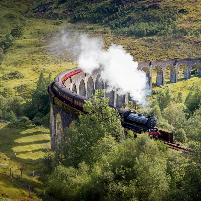 """Harry Potter Train, Jacobite Express, Glenfinnan Viaduct, Scotland, UK"" stock image"