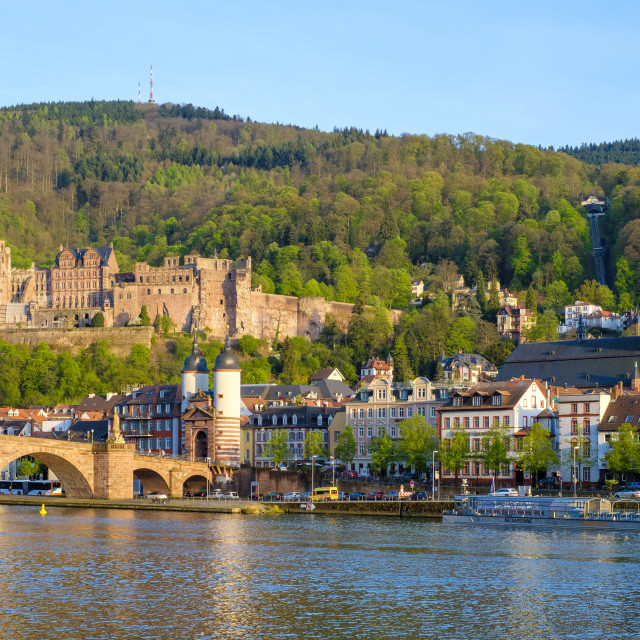 """Germany, Baden-Württemberg, Heidelberg. Alte Brucke (old bridge) and..."" stock image"