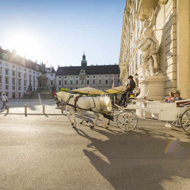"""Horse drawn carriage (Fiaker) , Internal Castle Square, Hofburg, Vienna,..."" stock image"