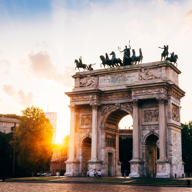 """""""Arco Della Pace (Peace Arch) in Milan, Italy at sunset"""" stock image"""