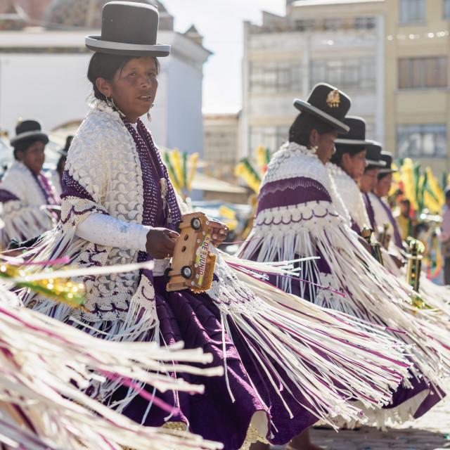 """Dancers in Traditional Costume, Fiesta de la Virgen de la Candelaria,..."" stock image"