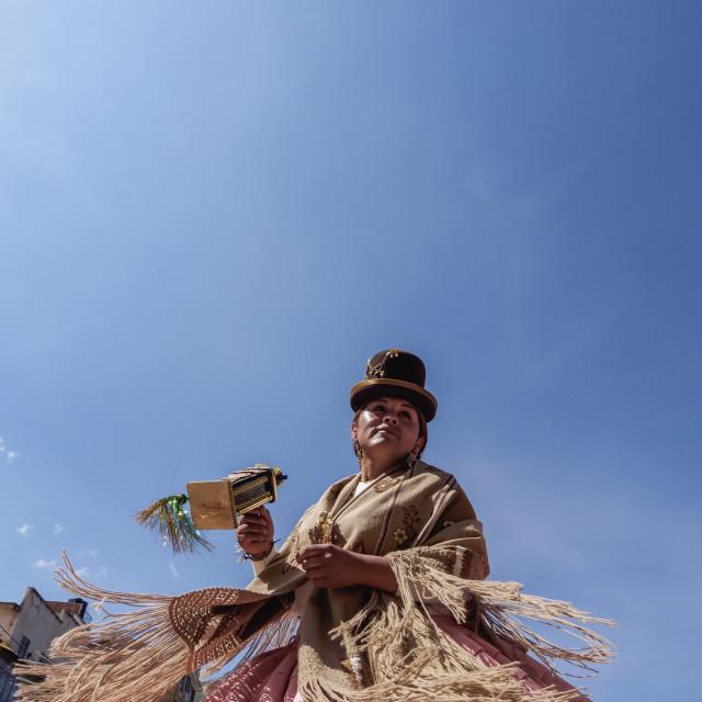 """Dancer in Traditional Costume, Fiesta de la Virgen de la Candelaria,..."" stock image"