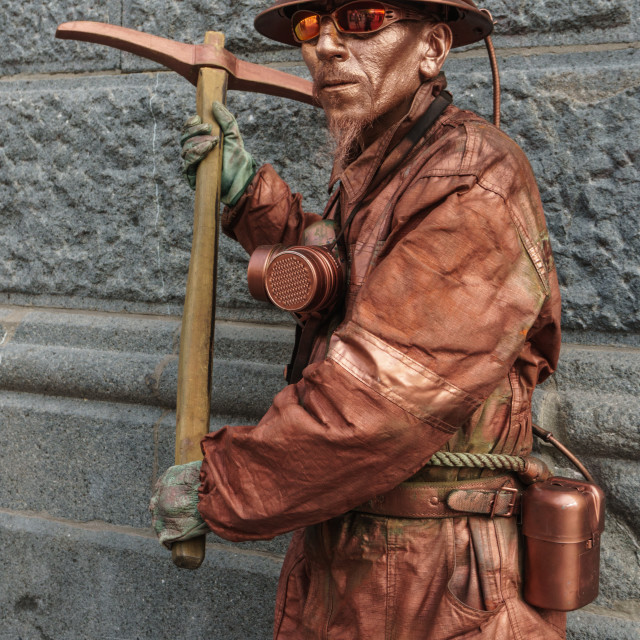 """""""Street performer called Mr Copper (copper provides 50% of Chile's national..."""" stock image"""