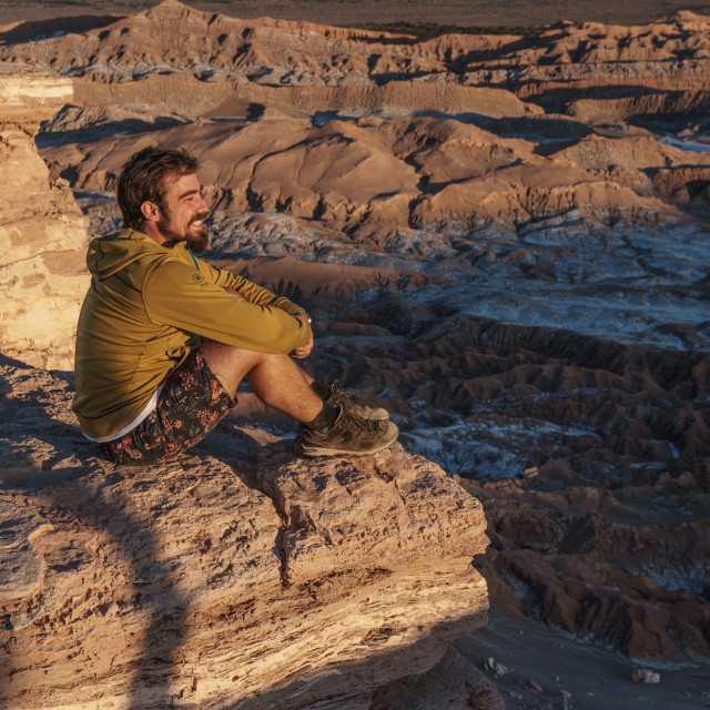 """""""Happy hiker enjoying the view at sunset across Death Valley, near San Pedro..."""" stock image"""