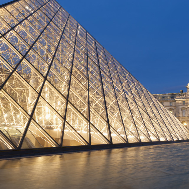 """Glass pyramid, Louvre, Paris, France."" stock image"