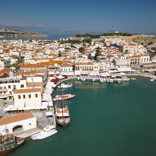 """Aerial view of Rethymno old town, Venetian Harbour and fortress, Grete Island"" stock image"