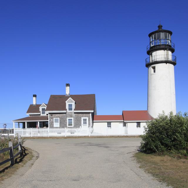 """Cape Cod Highland Lighthouse, Highland Light, Cape Cod, North Truro,..."" stock image"