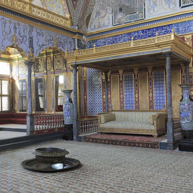 """Imperial Hall, Throne Room, The Harem, Topkapi Palace, UNESCO World Heritage..."" stock image"
