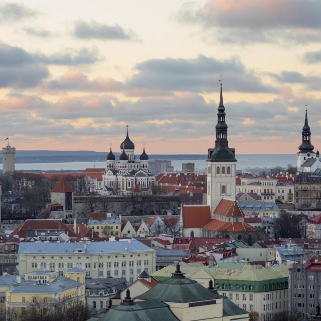 """View over Old Town at sunset, Tallinn, Estonia, Europe"" stock image"