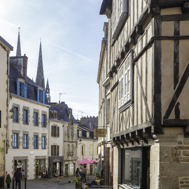 """The old streets of Quimper in Brittany, France."" stock image"