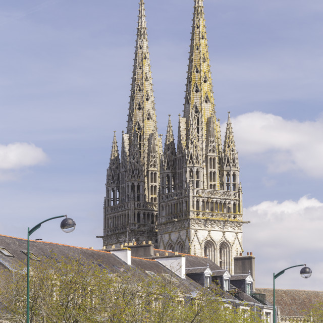 """Quimper cathedral, France. Built in the 13th century, Quimper cathedral was..."" stock image"