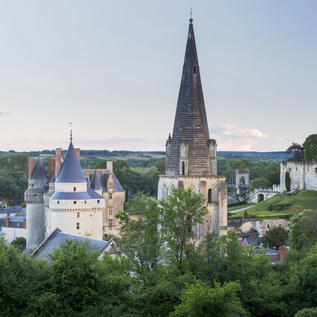 """The town of Langeais in France which sits on the banks of the Loire River in..."" stock image"