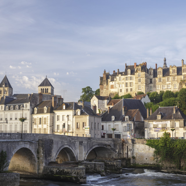 """The village of Saint Aignan reflecting in the River Cher, France."" stock image"