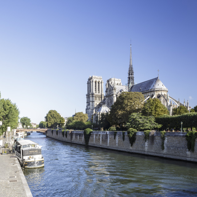 """Notre Dame de Paris cathedral and the River Seine."" stock image"