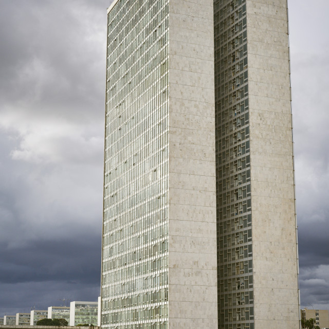 """Twin towers of the National Congress designed by Oscar Niemeyer, 1958, at the..."" stock image"