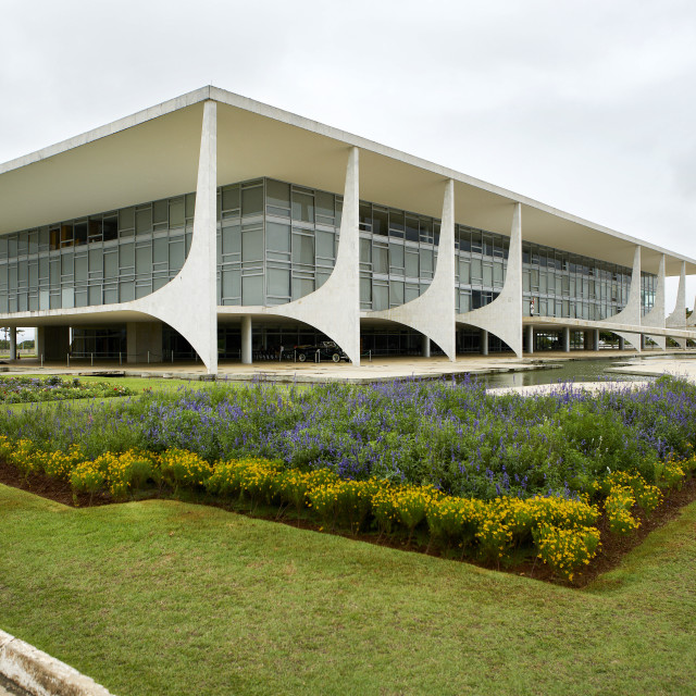 """Brasilia is the federal capital of Brazil; The Planalto Palace designed by..."" stock image"