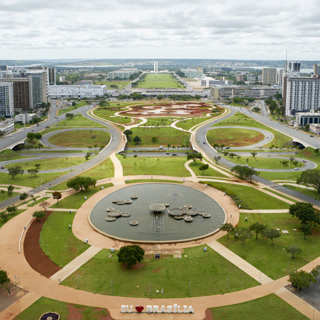 """Brasilia: View of the monumental axis with the government buildings in the..."" stock image"