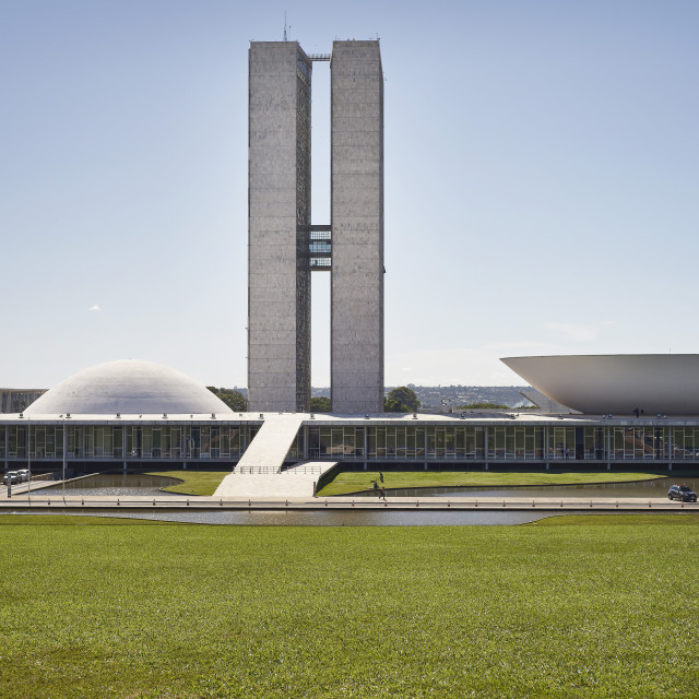 """National Congress designed by Oscar Niemeyer in 1958 epitomises the design..."" stock image"