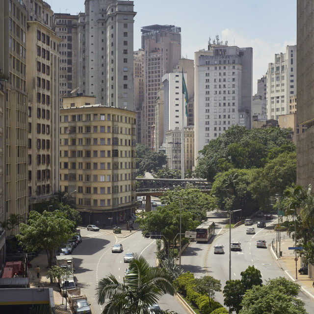 """Cento São Paulo, traditionally the commercial heart of the city. Buildings..."" stock image"