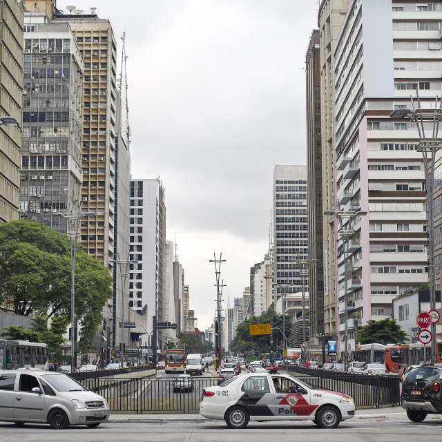 """São Paulo is the most populous city in Brazil. Paulista Avenue, the..."" stock image"