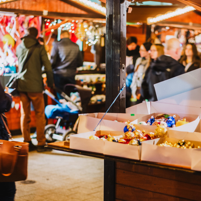 """""""motion blured peope in the Christmas market"""" stock image"""