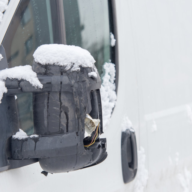 """""""close up on damaged side mirror in the truck car, winter"""" stock image"""