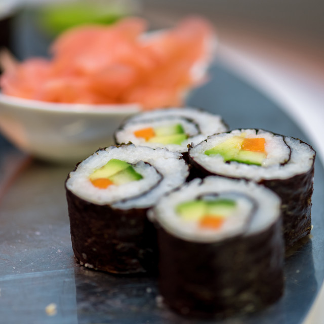 """""""Hot Sushi roll with salmon."""" stock image"""
