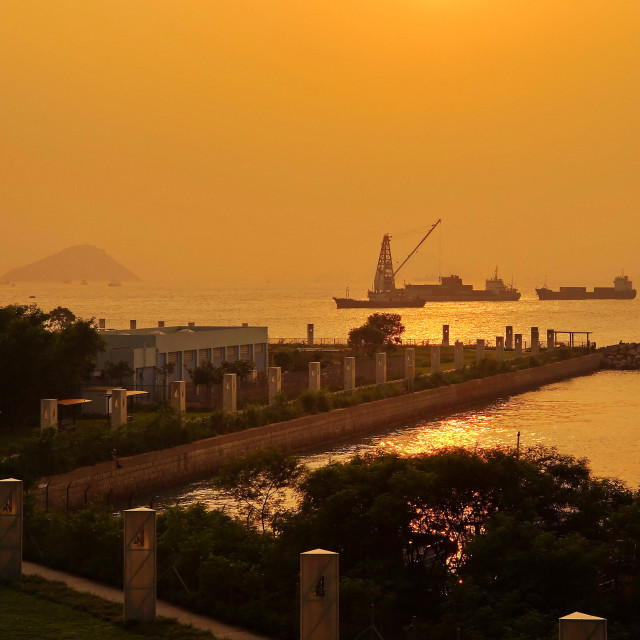 """""""West Kowloon Waterfront Promenade, Hong Kong"""" stock image"""