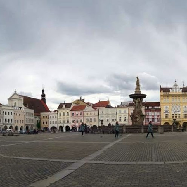 """Ceske Budejovice main square panorama"" stock image"