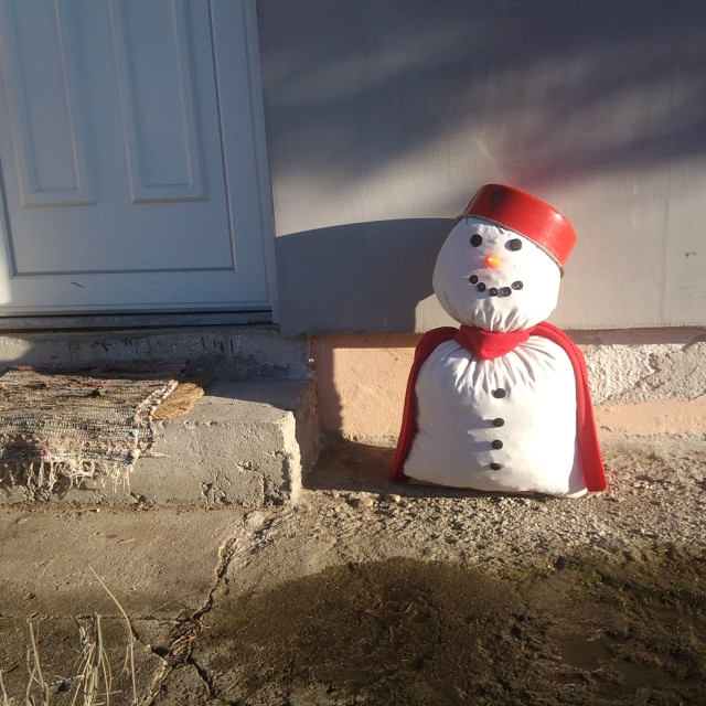 """Home made snowman"" stock image"