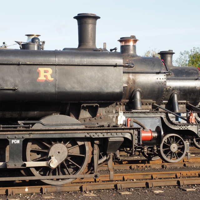 """""""Steam Engines line up"""" stock image"""